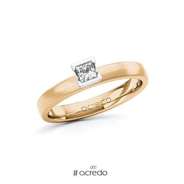 Verlobungsring in Roségold 585 Weißgold 585 mit zus. 0,2 ct. Prinzess-Diamant tw, si von acredo