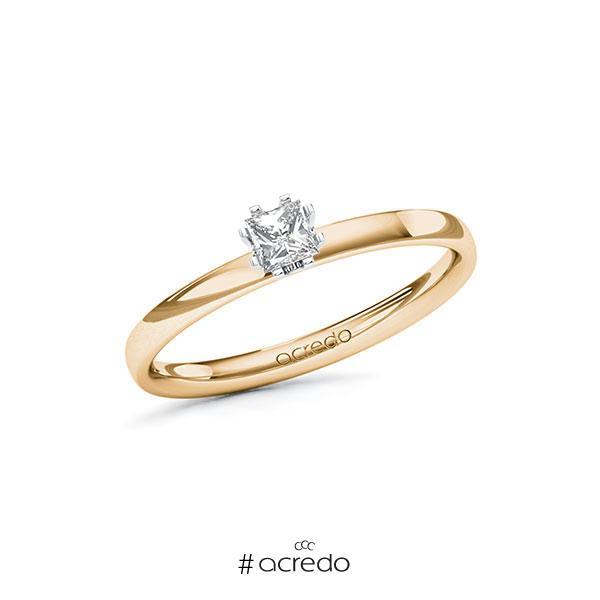 Verlobungsring in Roségold 585 Weißgold 585 mit zus. 0,2 ct. Prinzess-Diamant tw, vs von acredo