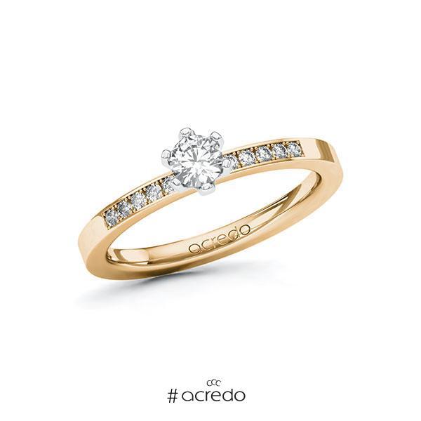 Verlobungsring in Roségold 585 Weißgold 585 mit zus. 0,35 ct. Brillant tw, si von acredo