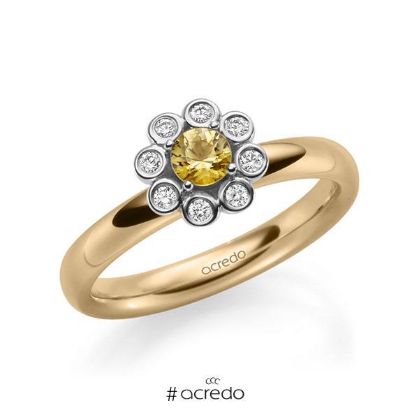 Verlobungsring in Roségold 585 Weißgold 585 mit zus. 0,37 ct. Brillant Saphir Gelb (A 8) tw, si von acredo