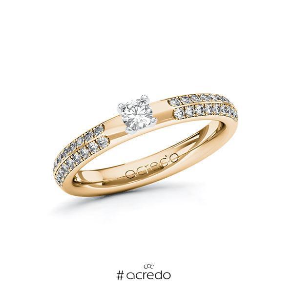 Verlobungsring in Roségold 585 Weißgold 585 mit zus. 0,438 ct. Brillant tw, si von acredo