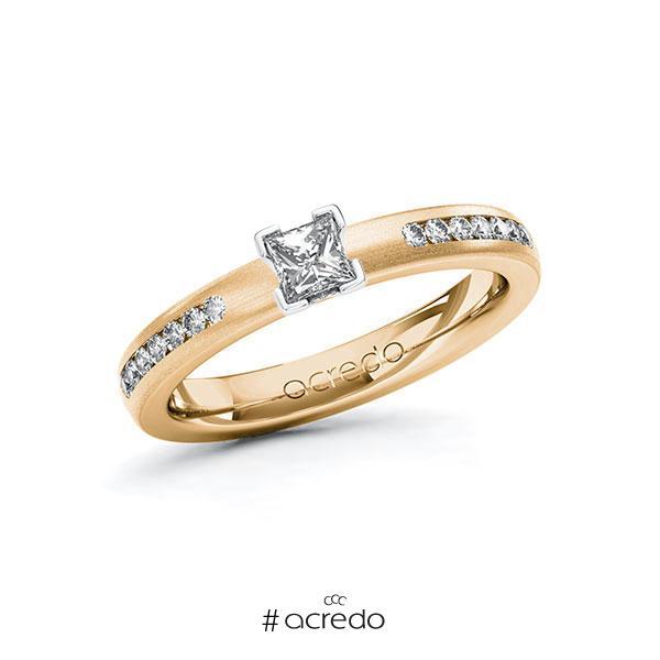 Verlobungsring in Roségold 585 Weißgold 585 mit zus. 0,46 ct. Prinzess-Diamant tw, si von acredo