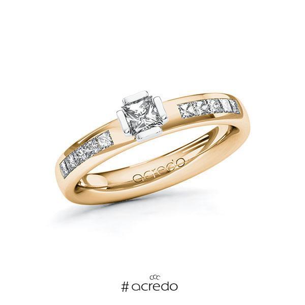 Verlobungsring in Roségold 585 Weißgold 585 mit zus. 0,55 ct. Prinzess-Diamant tw, si von acredo