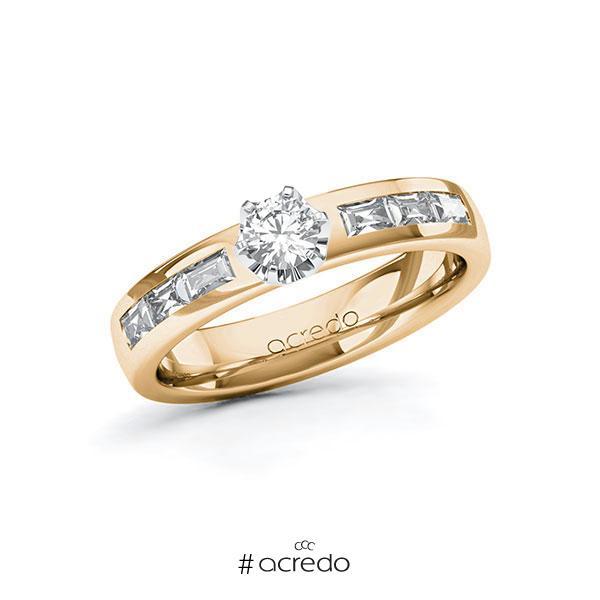 Verlobungsring in Roségold 585 Weißgold 585 mit zus. 0,73 ct. Brillant tw, si tw, vs von acredo