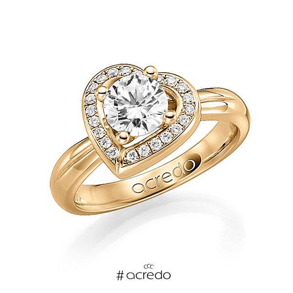 Verlobungsring in Roségold 750 mit 0,4 ct. 22 St. zusammen 0,11ct. Brillant tw, si von acredo