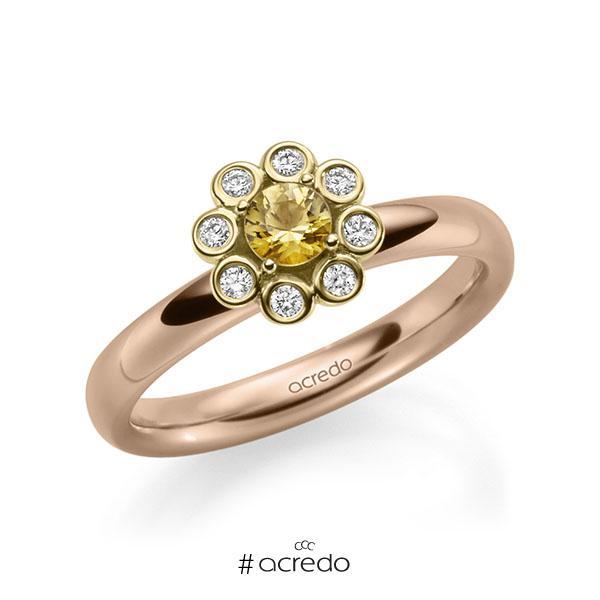 Verlobungsring in Rotgold 585 Gelbgold 585 mit zus. 0,37 ct. Brillant Saphir Gelb (A 8) tw, si von acredo