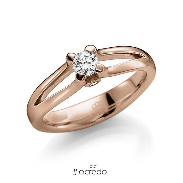 Verlobungsring in Rotgold 585 mit 0,3 ct. beidseitiger seitlicher Brillantbesatz 2x 0,015ct Brillant tw, vs tw, si von acredo