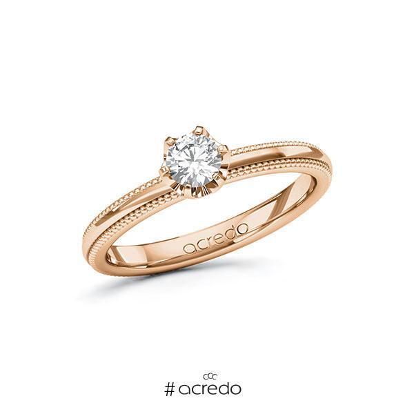 Verlobungsring in Rotgold 585 mit 0,3 ct. Brillant tw, si von acredo