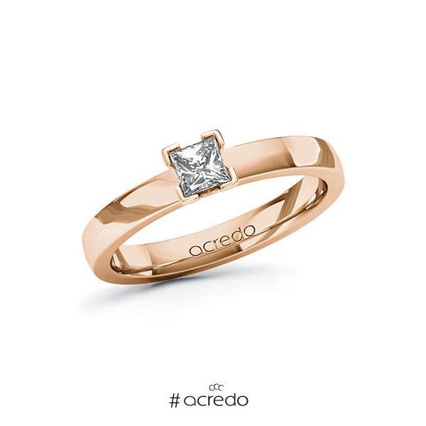Verlobungsring in Rotgold 585 mit 0,3 ct. Prinzess-Diamant tw, vs von acredo