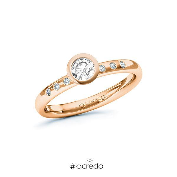 Verlobungsring in Rotgold 585 mit 0,3 ct. + zus. 0,048 ct. Brillant tw, si von acredo