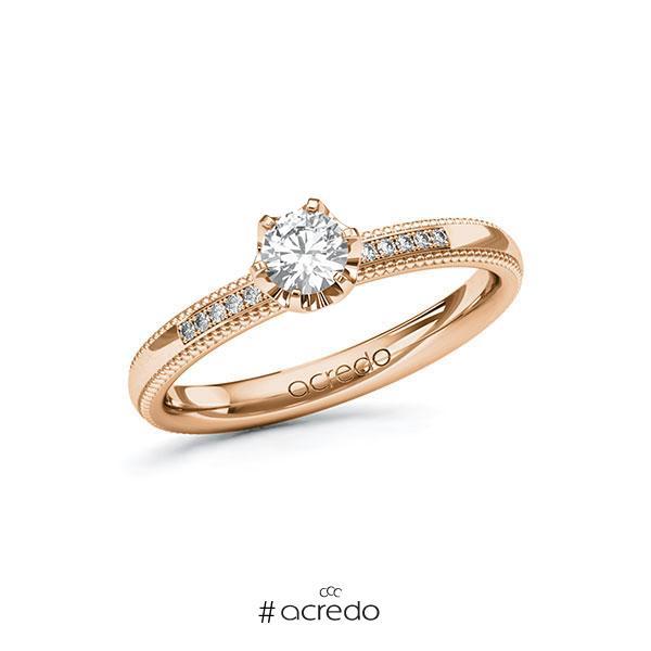 Verlobungsring in Rotgold 585 mit 0,3 ct. + zus. 0,06 ct. Brillant tw, si von acredo