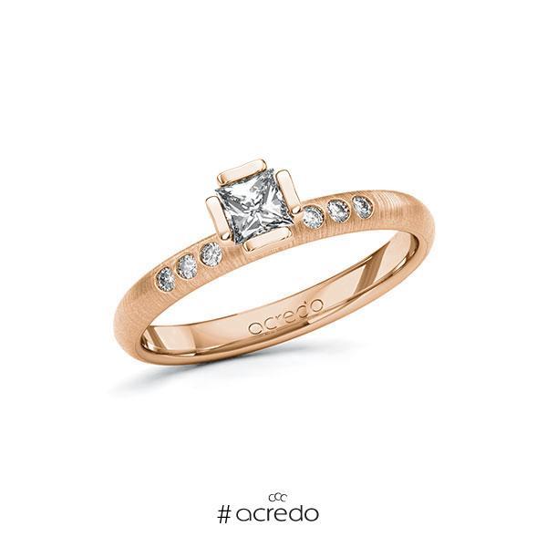 Verlobungsring in Rotgold 585 mit 0,3 ct. + zus. 0,06 ct. Prinzess-Diamant tw, vs tw, si von acredo