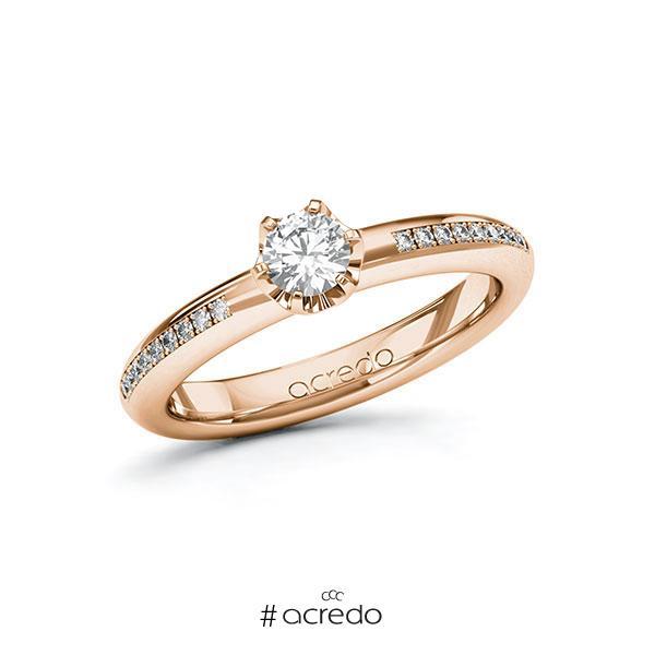 Verlobungsring in Rotgold 585 mit 0,3 ct. + zus. 0,09 ct. Brillant tw, si von acredo