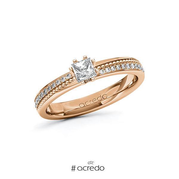 Verlobungsring in Rotgold 585 mit 0,3 ct. + zus. 0,296 ct. Prinzess-Diamant tw, vs tw, si von acredo