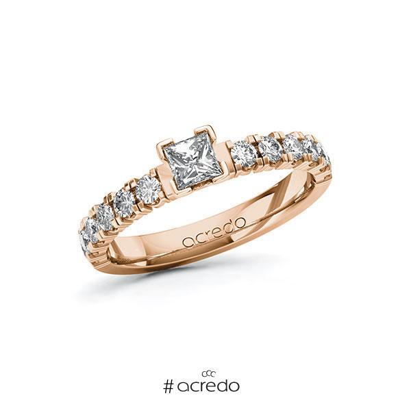 Verlobungsring in Rotgold 585 mit 0,3 ct. + zus. 0,48 ct. Prinzess-Diamant tw, vs tw, si von acredo