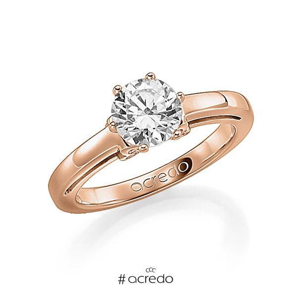 Verlobungsring in Rotgold 585 mit 0,4 ct. 12 St. zusammen 0,06ct. Brillant w, si tw, si von acredo