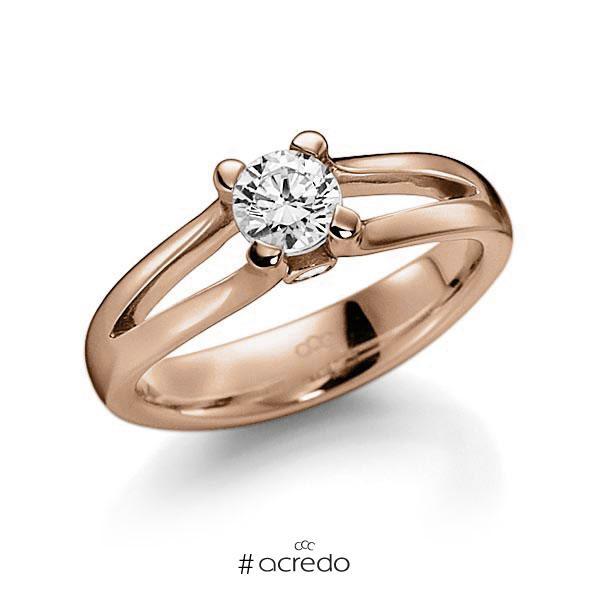 Verlobungsring in Rotgold 585 mit 0,4 ct. beidseitiger seitlicher Brillantbesatz 2x 0,025ct Brillant tw, vs tw, si von acredo