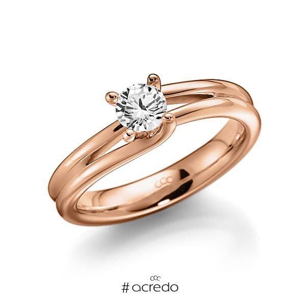 Verlobungsring in Rotgold 585 mit 0,4 ct. Brillant tw, vs von acredo