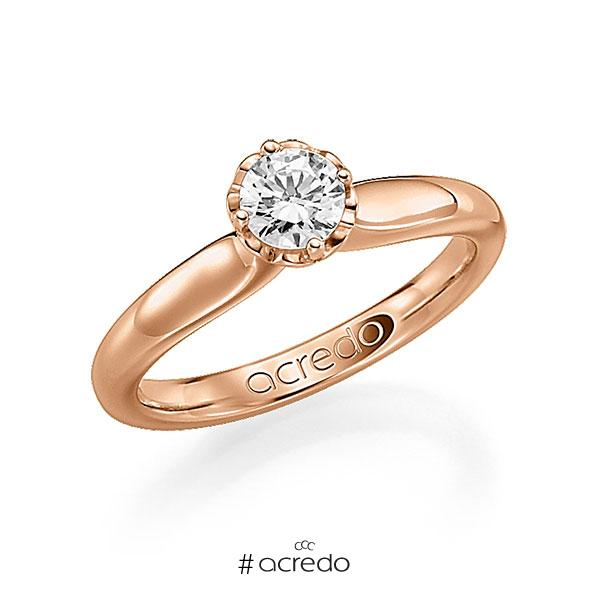 Verlobungsring in Rotgold 585 mit 0,4 ct. Brillant w, si von acredo