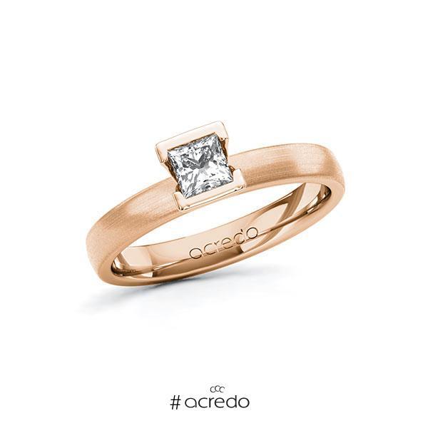 Verlobungsring in Rotgold 585 mit 0,4 ct. Prinzess-Diamant tw, vs von acredo