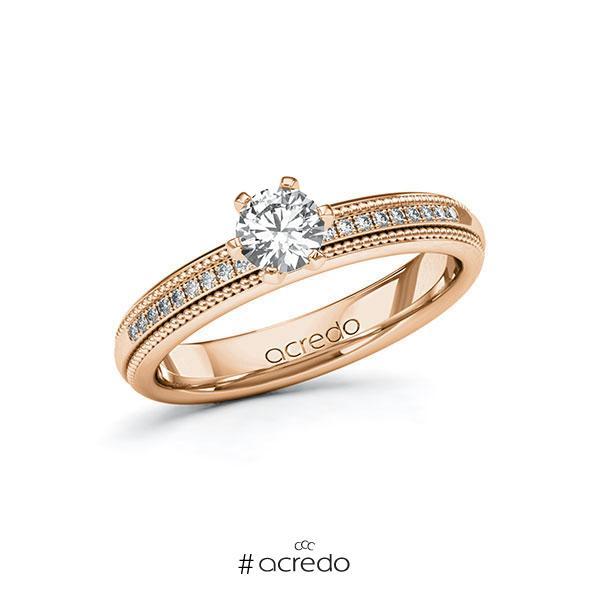 Verlobungsring in Rotgold 585 mit 0,4 ct. + zus. 0,09 ct. Brillant tw, si von acredo
