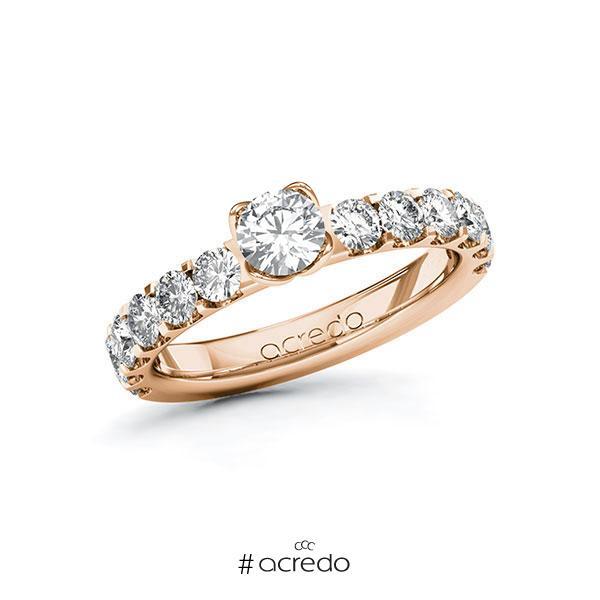 Verlobungsring in Rotgold 585 mit 0,4 ct. + zus. 1,08 ct. Brillant tw, si von acredo