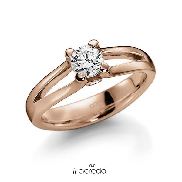 Verlobungsring in Rotgold 585 mit 0,5 ct. beidseitiger seitlicher Brillantbesatz 2x 0,025ct Brillant tw, vs tw, si von acredo