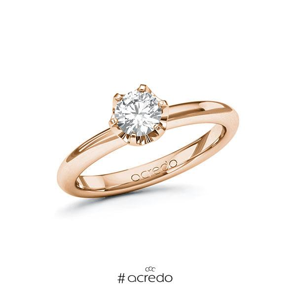 Verlobungsring in Rotgold 585 mit 0,5 ct. Brillant tw, si von acredo