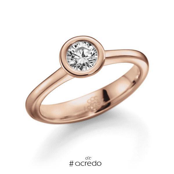 Verlobungsring in Rotgold 585 mit 0,5 ct. Brillant tw, vs von acredo