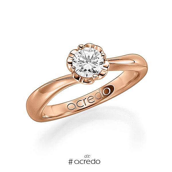 Verlobungsring in Rotgold 585 mit 0,5 ct. Brillant w, si von acredo