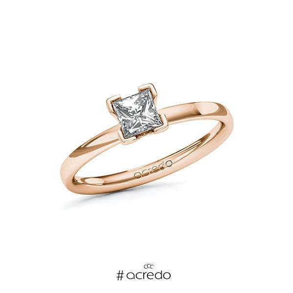 Verlobungsring in Rotgold 585 mit 0,5 ct. Prinzess-Diamant tw, vs von acredo
