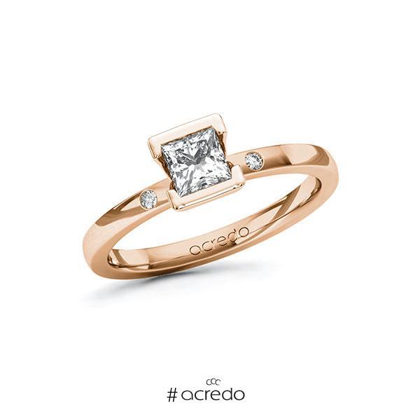 Verlobungsring in Rotgold 585 mit 0,5 ct. + zus. 0,02 ct. Prinzess-Diamant tw, vs tw, si von acredo