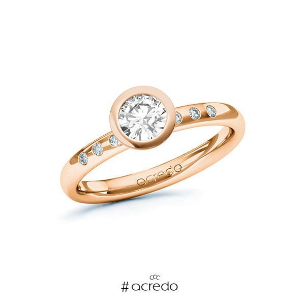Verlobungsring in Rotgold 585 mit 0,5 ct. + zus. 0,048 ct. Brillant tw, si von acredo
