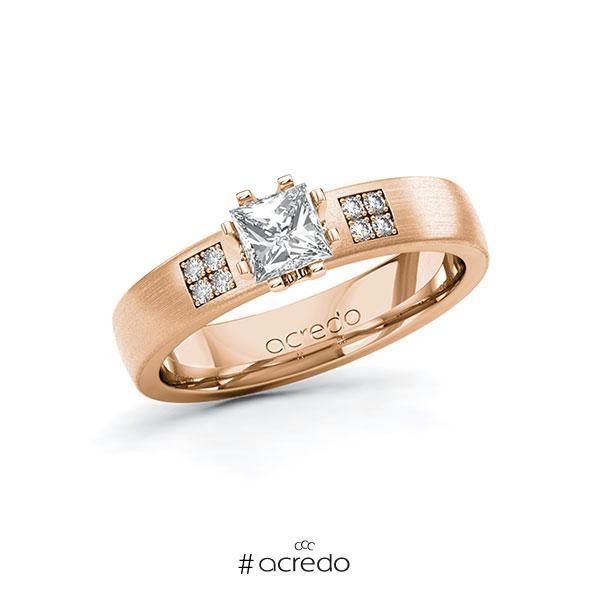 Verlobungsring in Rotgold 585 mit 0,5 ct. + zus. 0,064 ct. Prinzess-Diamant tw, vs tw, si von acredo