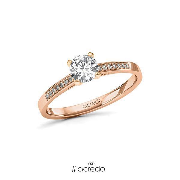 Verlobungsring in Rotgold 585 mit 0,5 ct. + zus. 0,07 ct. Brillant tw, si von acredo