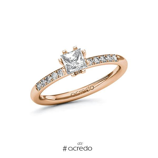 Verlobungsring in Rotgold 585 mit 0,5 ct. + zus. 0,08 ct. Prinzess-Diamant tw, vs tw, si von acredo