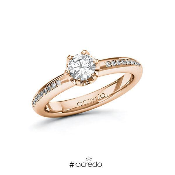 Verlobungsring in Rotgold 585 mit 0,5 ct. + zus. 0,09 ct. Brillant tw, si von acredo