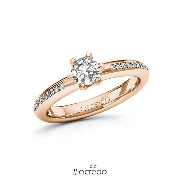 Verlobungsring in Rotgold 585 mit 0,5 ct. + zus. 0,09 ct. tw, si von acredo