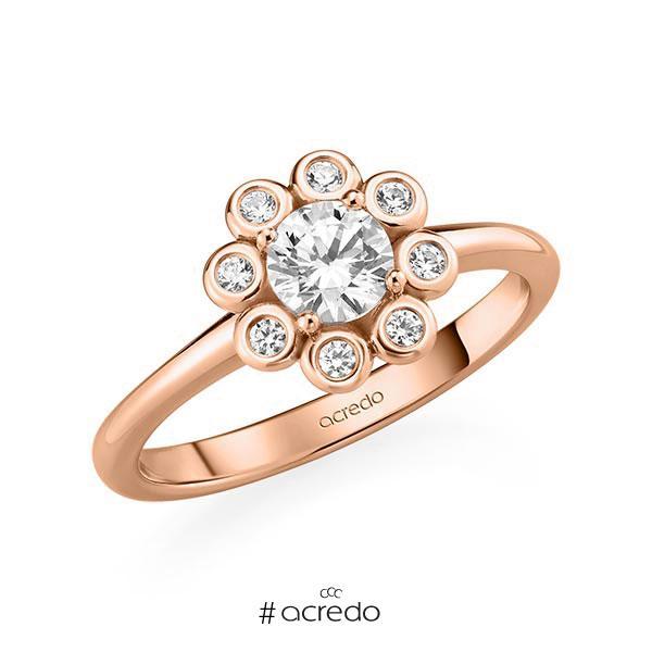 Verlobungsring in Rotgold 585 mit 0,5 ct. + zus. 0,12 ct. Brillant tw, si von acredo