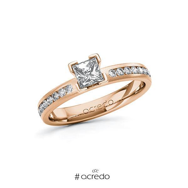 Verlobungsring in Rotgold 585 mit 0,5 ct. + zus. 0,24 ct. Prinzess-Diamant tw, vs tw, si von acredo