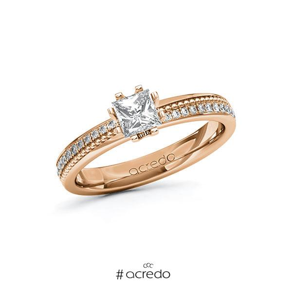 Verlobungsring in Rotgold 585 mit 0,5 ct. + zus. 0,296 ct. Prinzess-Diamant tw, vs tw, si von acredo