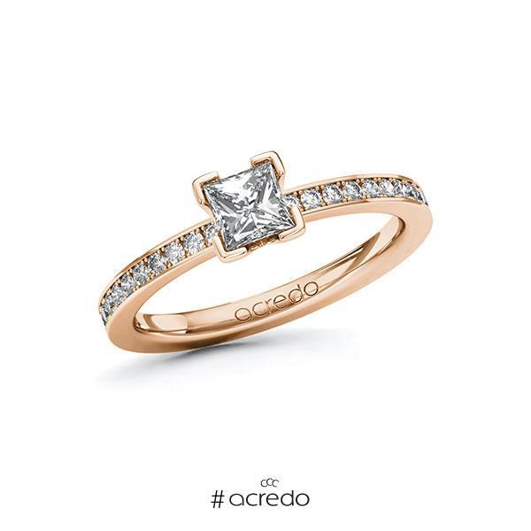 Verlobungsring in Rotgold 585 mit 0,5 ct. + zus. 0,2 ct. Prinzess-Diamant tw, vs tw, si von acredo