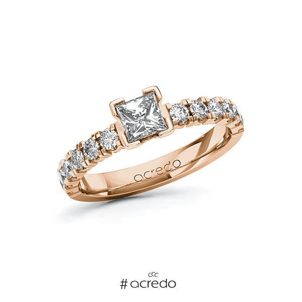 Verlobungsring in Rotgold 585 mit 0,5 ct. + zus. 0,48 ct. Prinzess-Diamant tw, vs tw, si von acredo