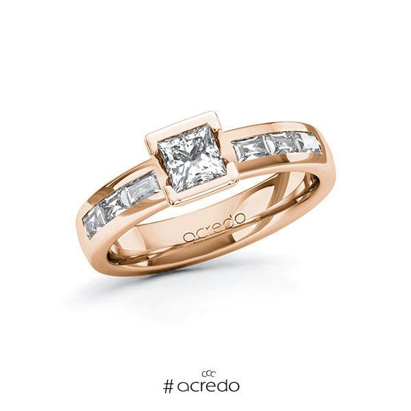 Verlobungsring in Rotgold 585 mit 0,5 ct. + zus. 0,48 ct. Prinzess-Diamant tw, vs von acredo
