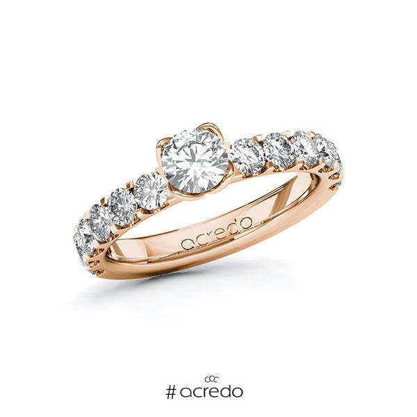 Verlobungsring in Rotgold 585 mit 0,5 ct. + zus. 1,08 ct. Brillant tw, si von acredo