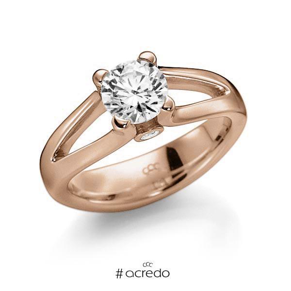 Verlobungsring in Rotgold 585 mit 0,7 ct. beidseitiger seitlicher Brillantbesatz 2x 0,030ct Brillant tw, vs tw, si von acredo