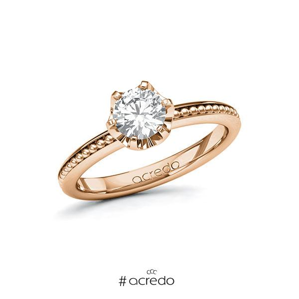Verlobungsring in Rotgold 585 mit 0,7 ct. Brillant tw, si von acredo