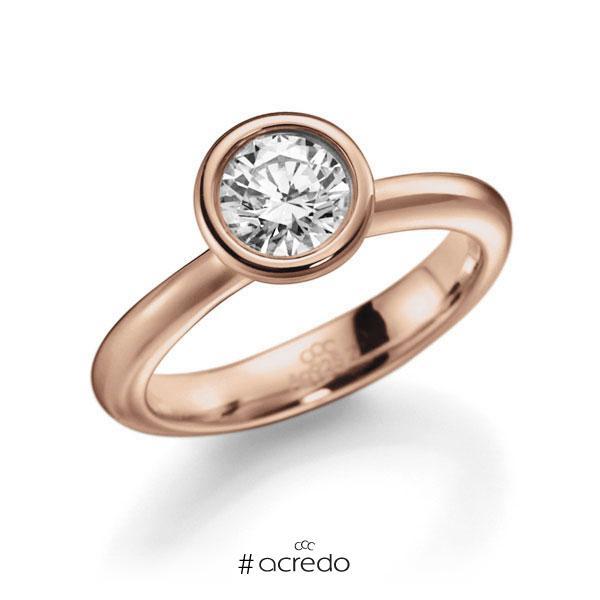 Verlobungsring in Rotgold 585 mit 0,7 ct. Brillant w, si von acredo