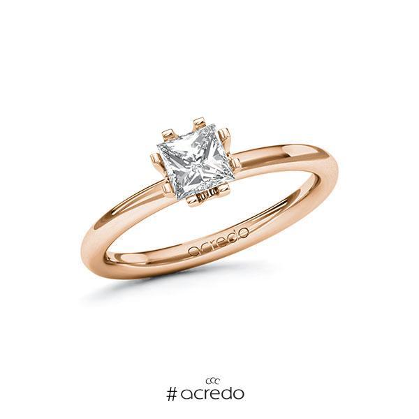 Verlobungsring in Rotgold 585 mit 0,7 ct. Prinzess-Diamant tw, vs von acredo