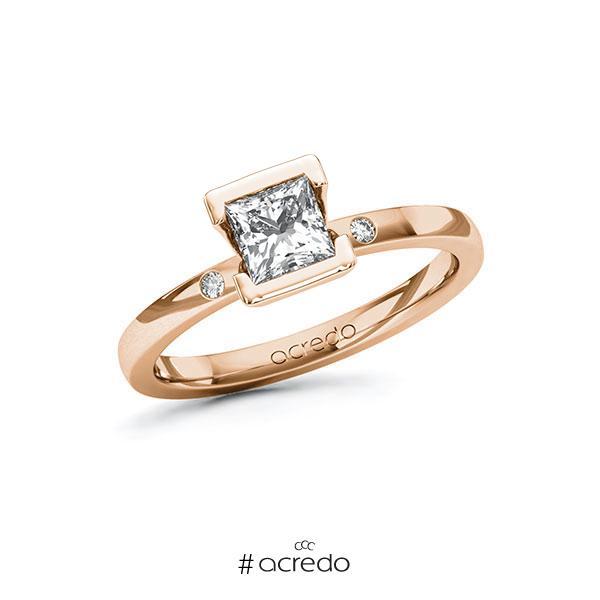 Verlobungsring in Rotgold 585 mit 0,7 ct. + zus. 0,02 ct. Prinzess-Diamant tw, vs tw, si von acredo